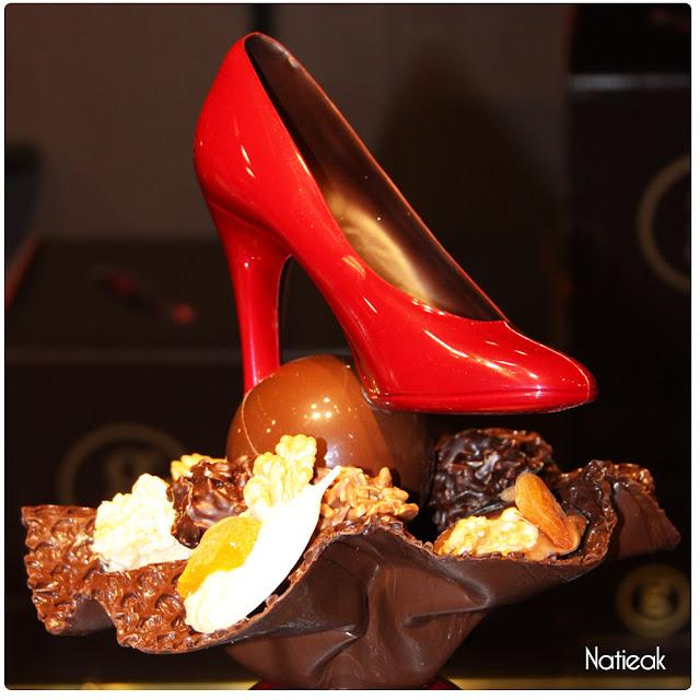 escarpin rouge en chocolat de Georges Larnicol