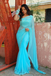 South-actress-blue-saree