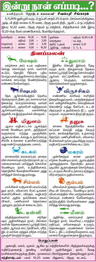 Daily Tamil Rasipalan from Tamil Daily Newspaper Dhina Thanthi