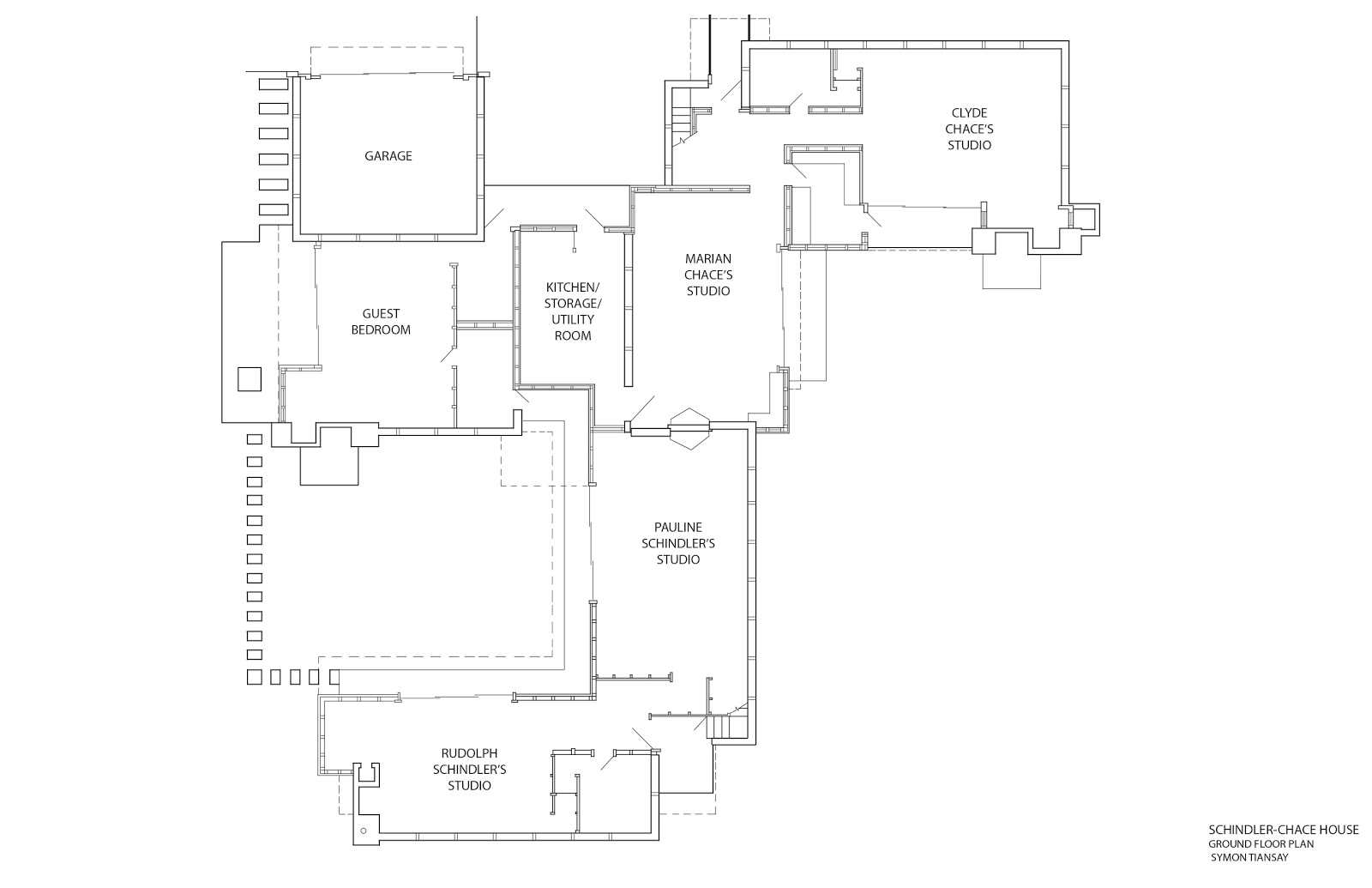 SchindlerChace House Schindler House in Plan Section and Elevation – Elevation And Floor Plan Of A House