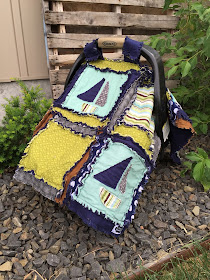 Baby Boy Quilt with Sailboats Rag Quilt Blanket