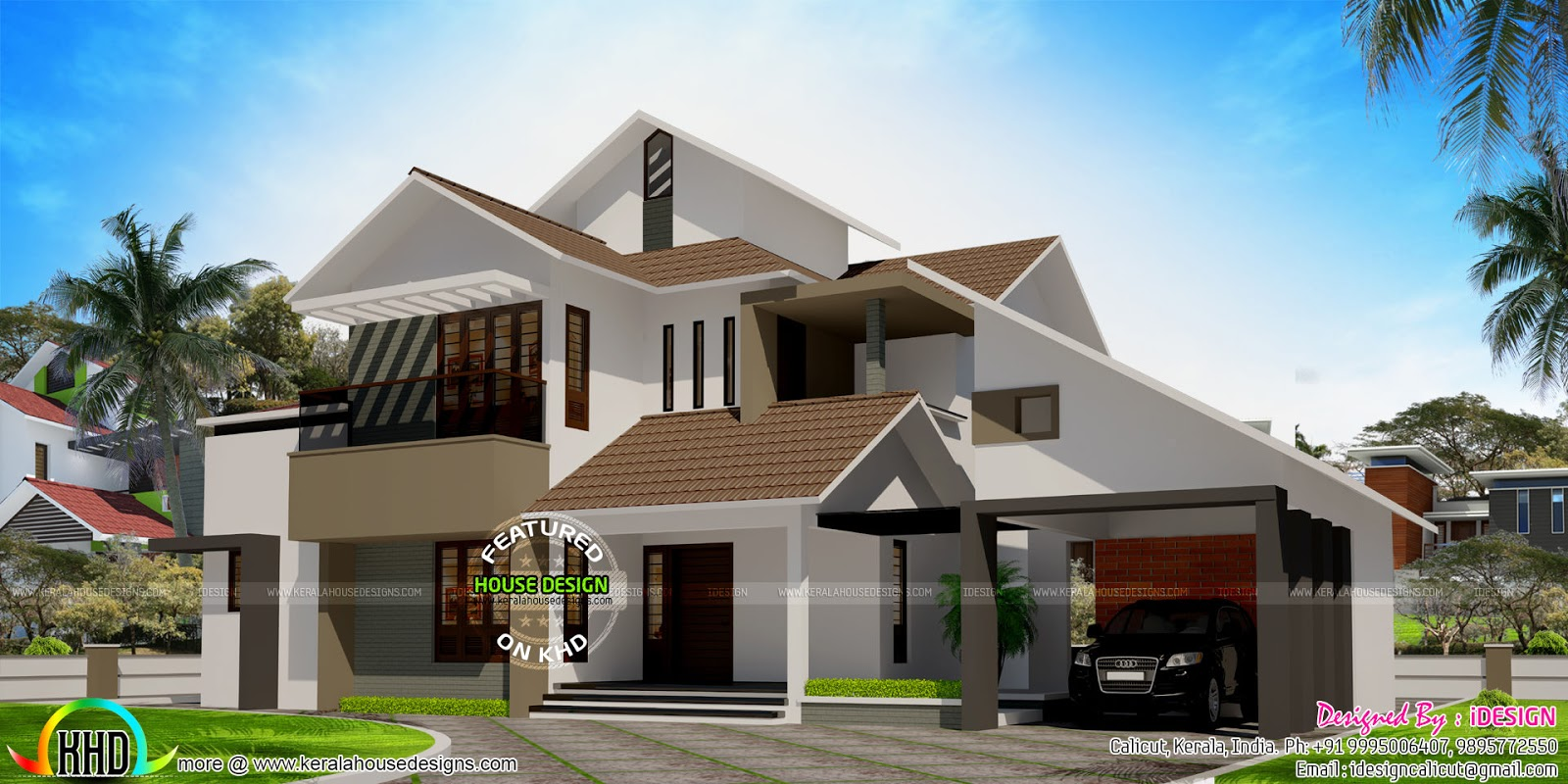 Slanting Roof Modern Sloping Roof House With Courtyard