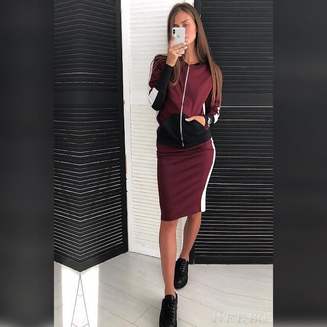 Γυναικείο  σύνολο KIONA BORDO  - Φούστα και  μπουφάν