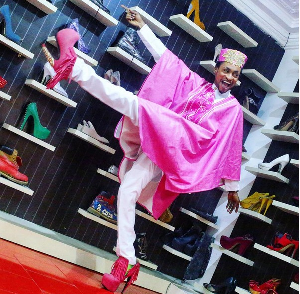 Denrele And His High Heel Shoes Strike A Pose In Agbada