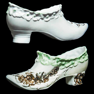 Antique Vintage Porcelain Shoe white and green with gold trim