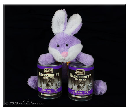 Merrick Backcountry Alpine Rabbit Stew with plush purple rabbit