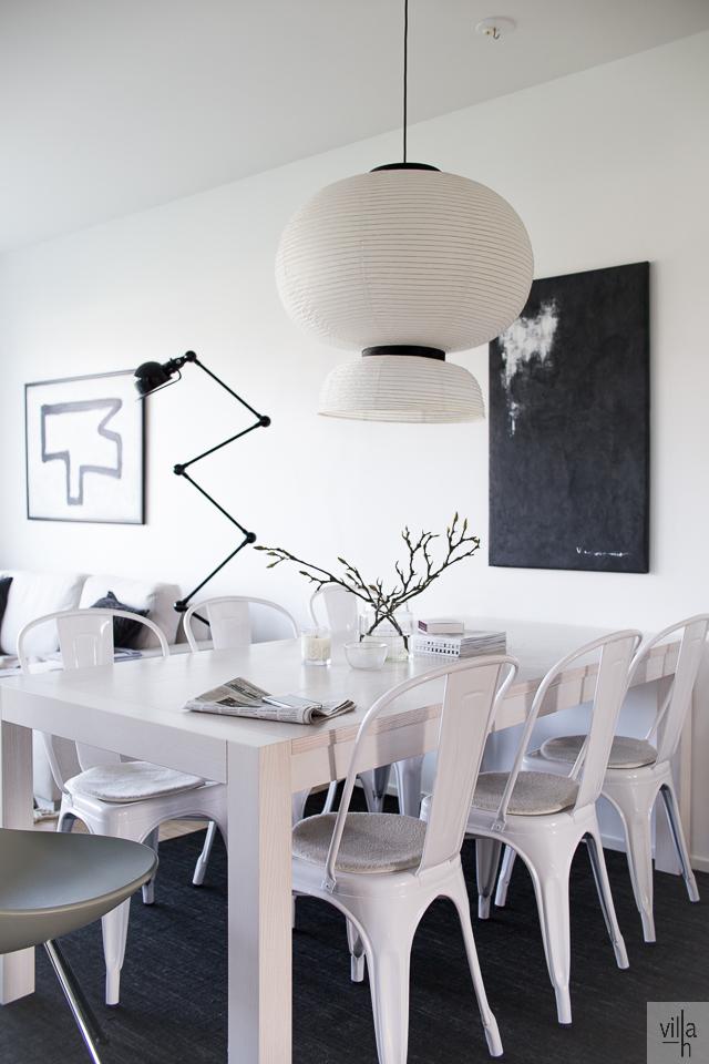 tolix tuolit, sisustus, ruokailutila, villa h