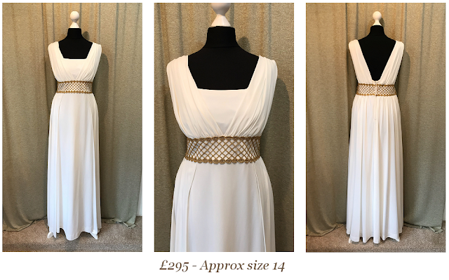 grecian gold white vintage wedding dress available at vintage lane bridal boutique in bolton , manchester, lancashire