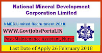 National Mineral Development Corporation Recruitment 2018–Maintenance Assistant, Nurse