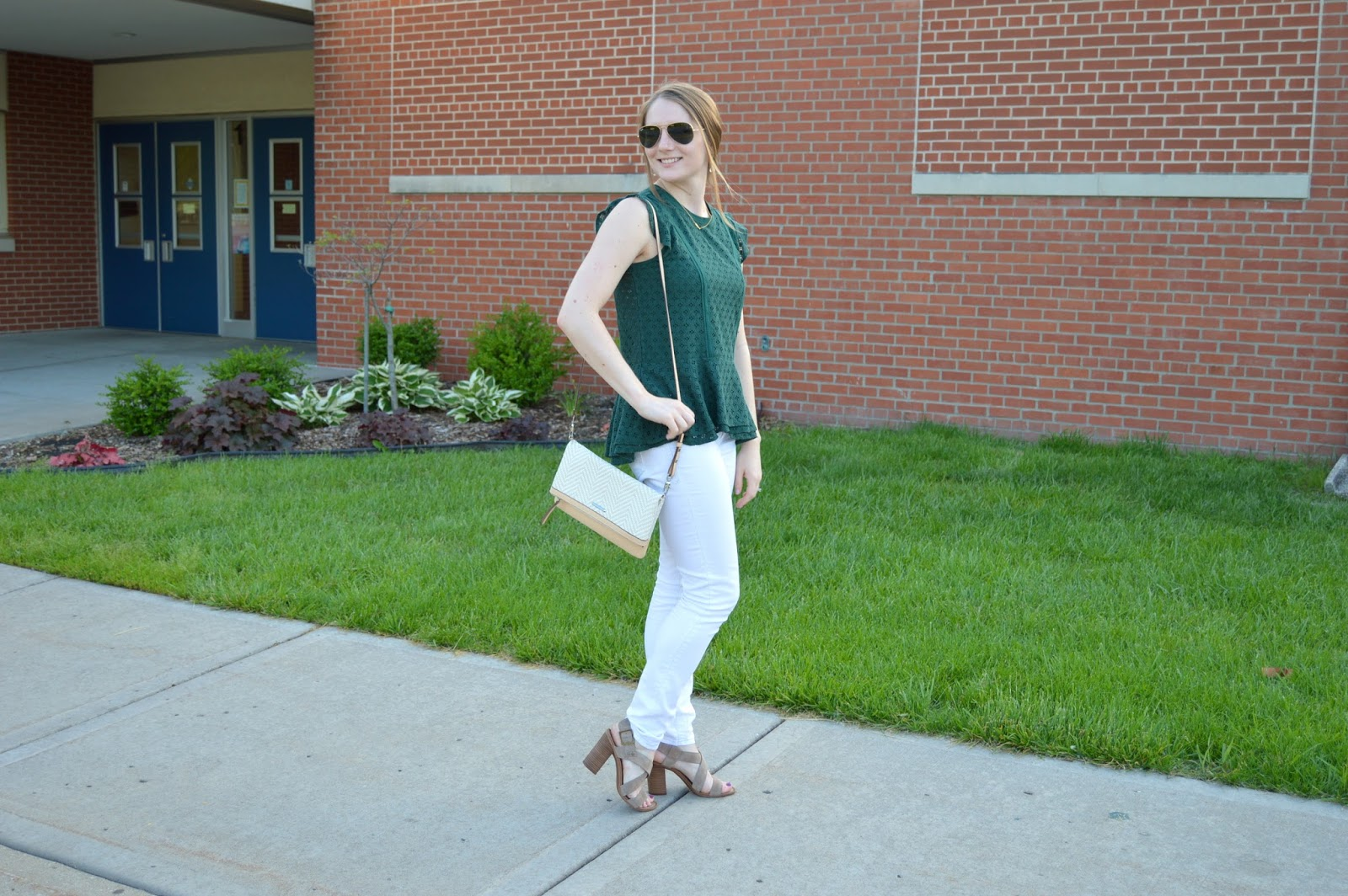 green lace peplum top with white jeans | what to wear with white jeans | white jeans for summer| summer outfit ideas | summer lookbook | what to wear this summer | green lace top outfit ideas | what to wear with a green top | a memory of us