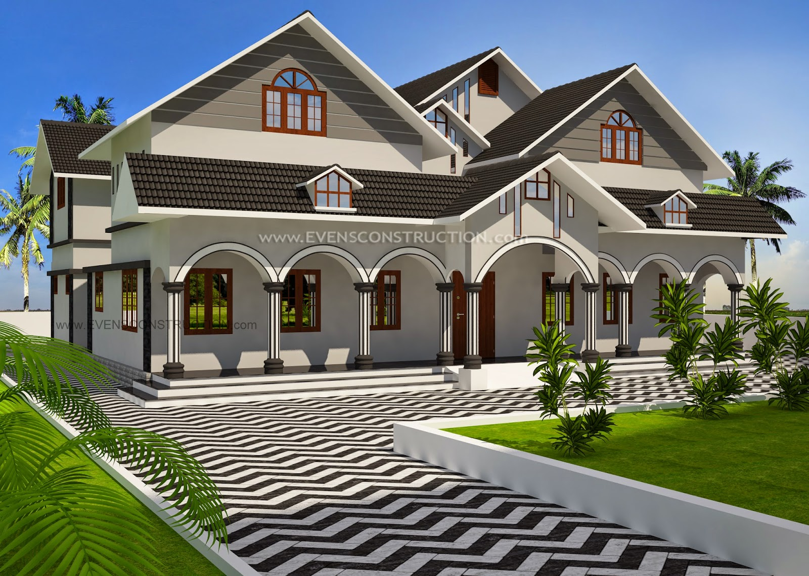 Evens Construction Pvt Ltd Sloping Roof House In 2665