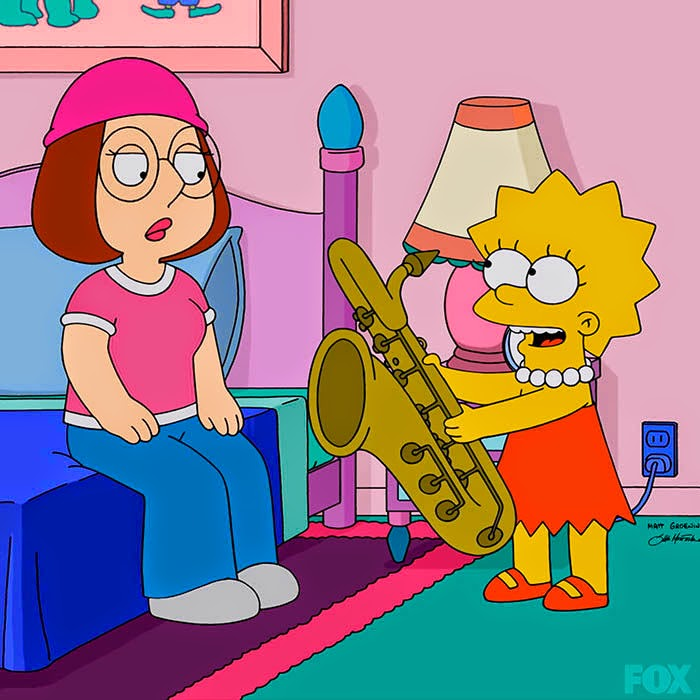 Lisa Simpson offers her saxophone to Meg Griffin in The Simpsons Family Guy crossover episode