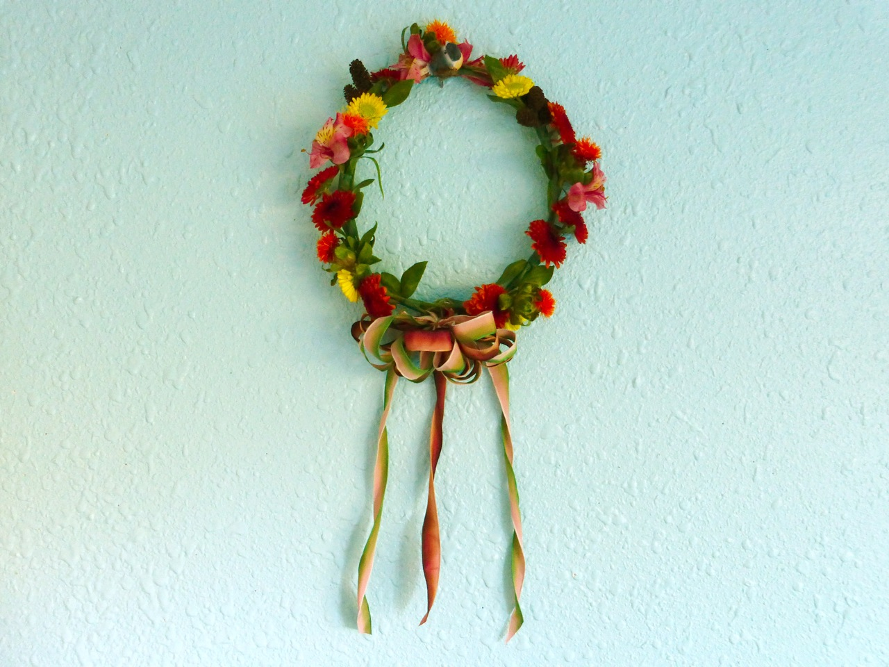DIY, Do It Yourself, Autumn Floral Crown, Floral Crown, head wreath, Trader Joe's bouquet, Trader Joe's seasonal bouquet, floral crown made with Trader Joe's flowers