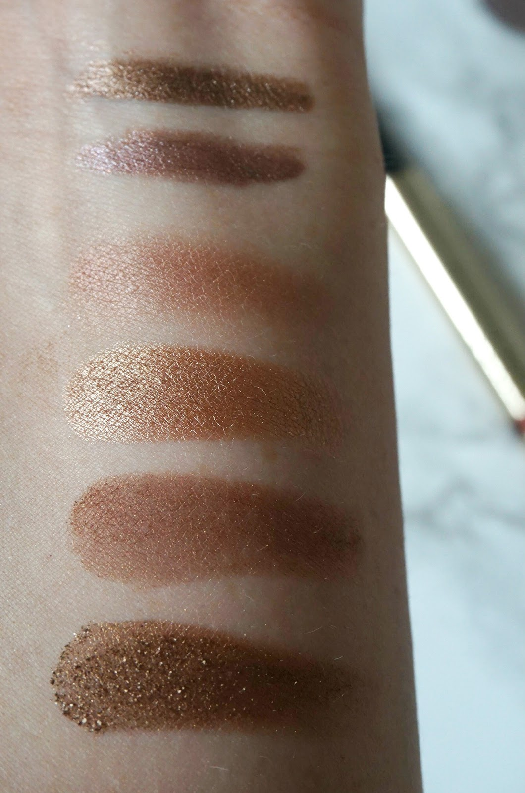 By Terry, Bronze Moon, Misty Rock, MAC, Sable, Woodwinked, Mulch, Tempting, Swatches