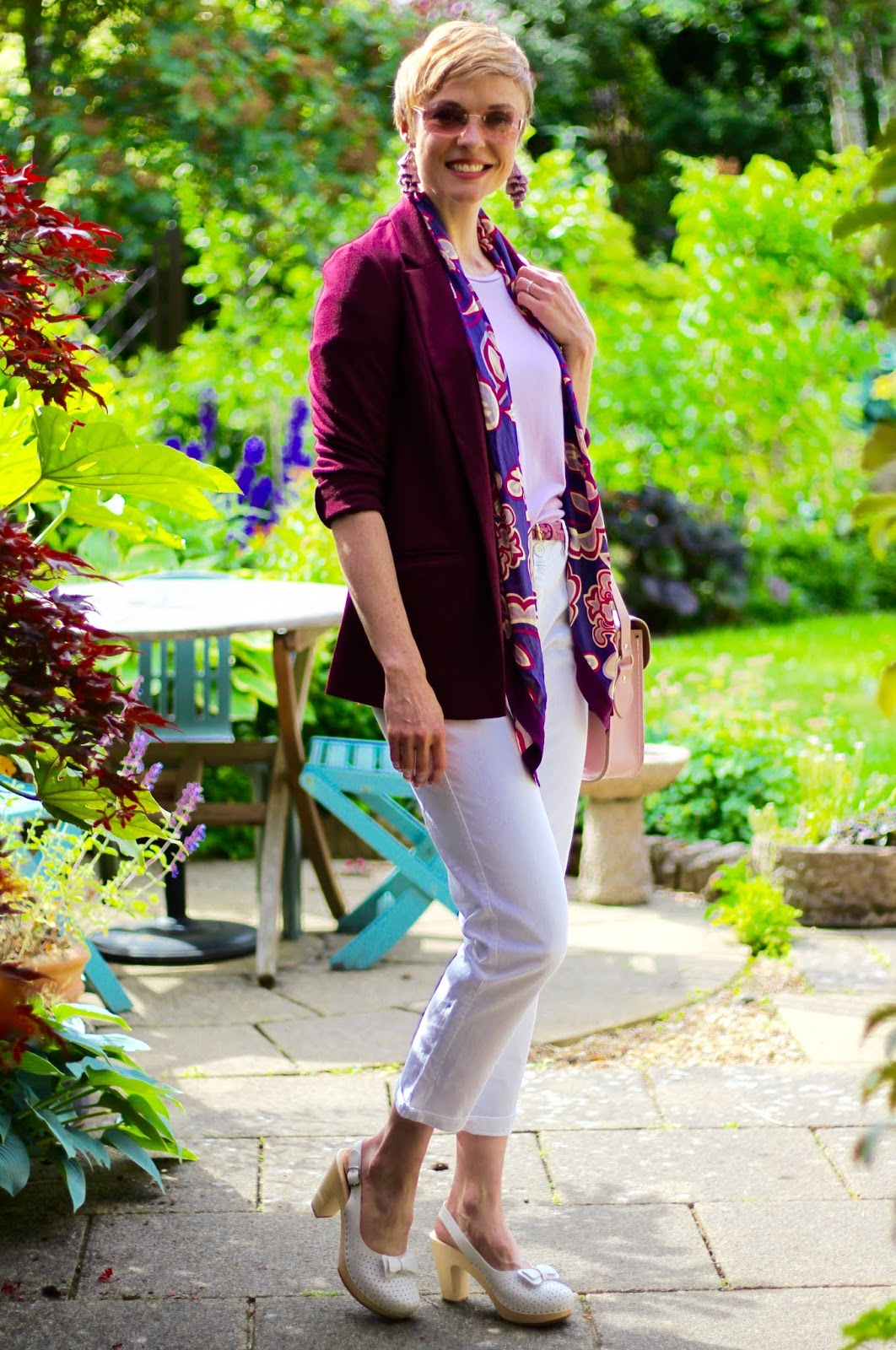 White Jeans with Burgundy, Pink and Lilac | Outfit Formula | Fake Fabulous