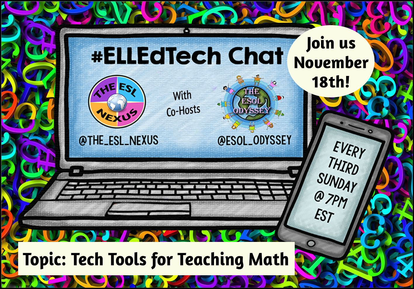 Come join the next #ELLEdTech Twitter chat on November 18th to discuss using Tech Tools to Teach Math! | The ESL Nexus