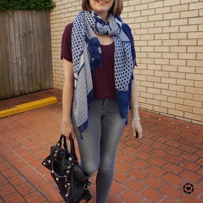 awayfromblue Instagram | navy printed scarf, burgundy tee grey skinny jeans mum style