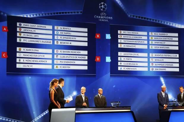 Hasil Undian Babak Fase Grup Liga Champions 2016-17