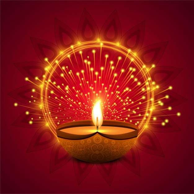 Red background with lights for diwali Free Vector