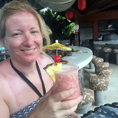 drinking a lava flow cocktail