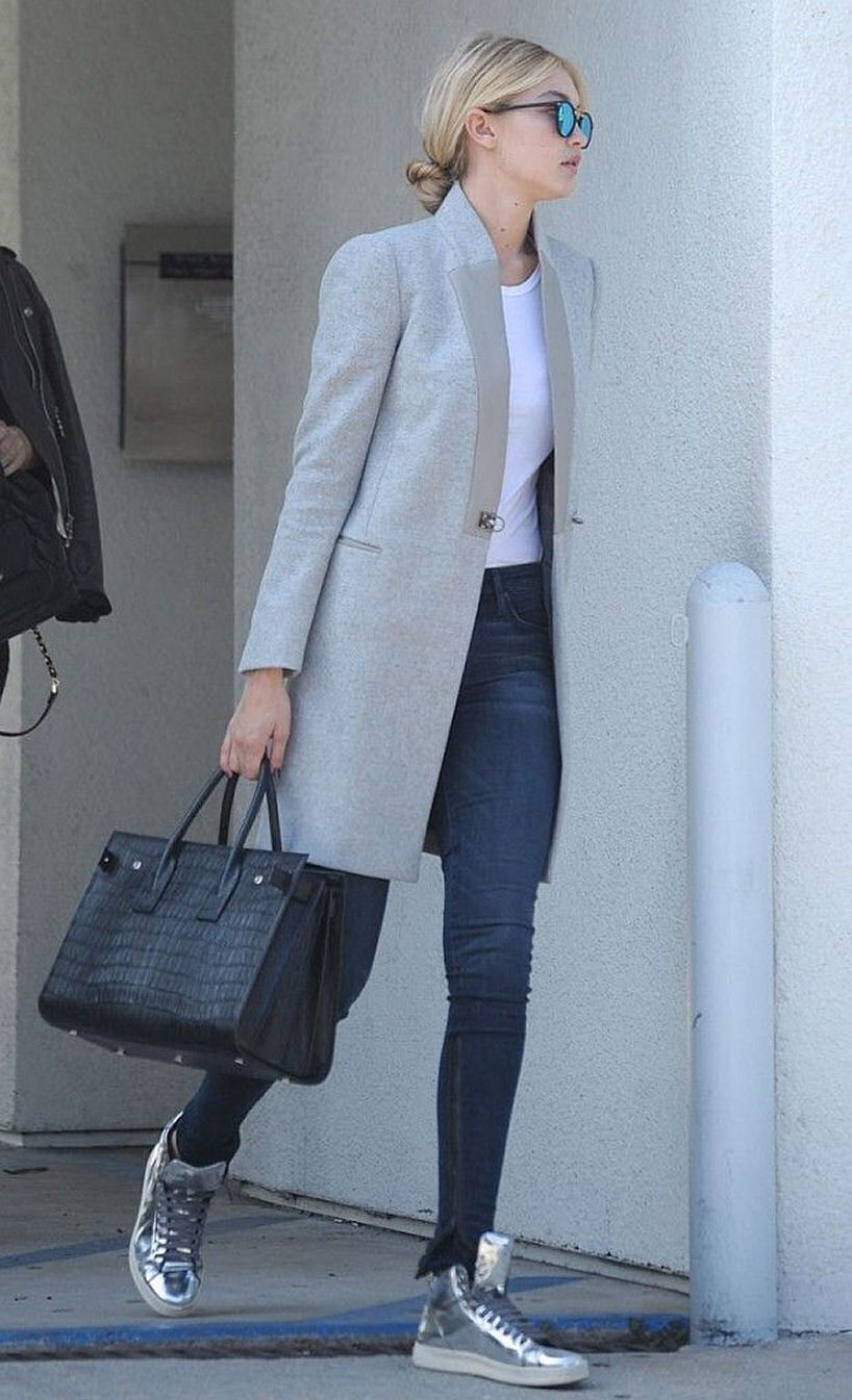 Gigi Hadid street style model grey coat