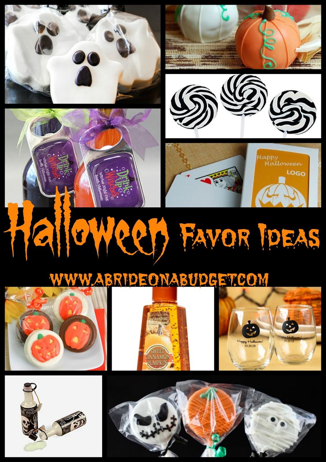 Planning a Halloween-themed wedding or a Halloween party? Check out these Halloween wedding favor ideas from www.abrideonabudget.com.