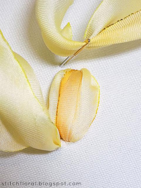 Ribbon embroidery tulip tutorial