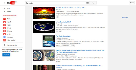 Teoria da Terra plana ganha força na internet - Vídeos do Youtube