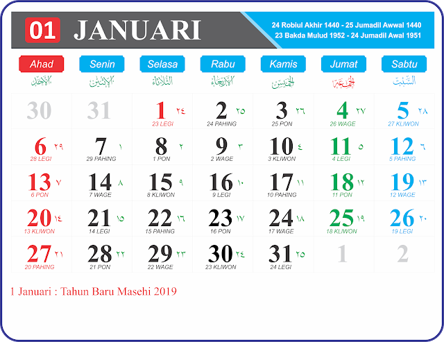 Download Kalender 2019 Per Bulan