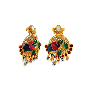 Earrings curated in sterling silver with  filigree work graced with kundan and vibrant hues of enamelling in gold plated tone by Izaara-min