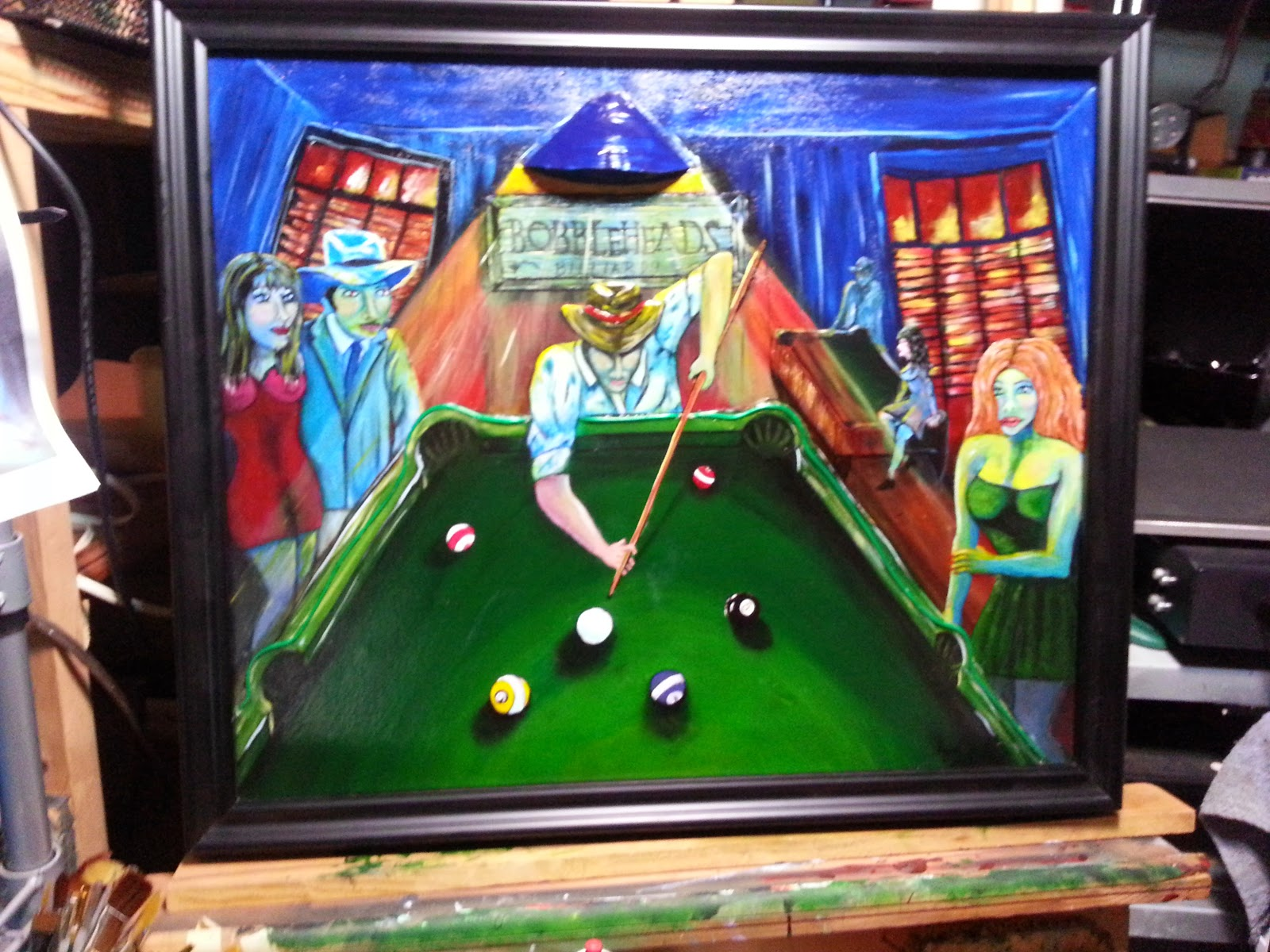 Oh no that did not happen pool hall billiards painting with el i call it bobbleheads billiards cuz for some reason the heads on the people kept gettin bigger and bigger so i just went with it here are a few pics keyboard keysfo Images
