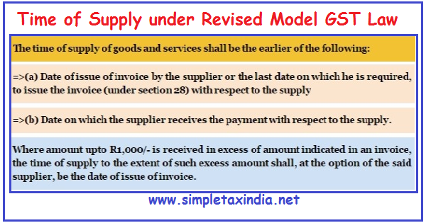 Invoice Paid In Full Excel Time Of Supply Under Revised Model Gst Law  Simple Tax India Deposit Receipt Sample with Quinoa Receipts Word  Quickbooks Receipts