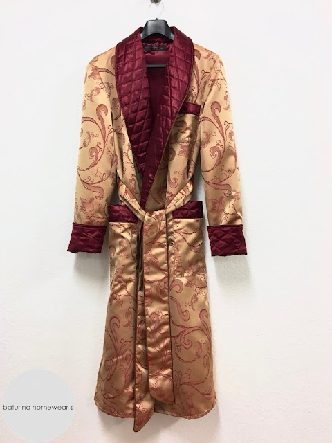 Mens long robe silk dressing gown paisley quilted