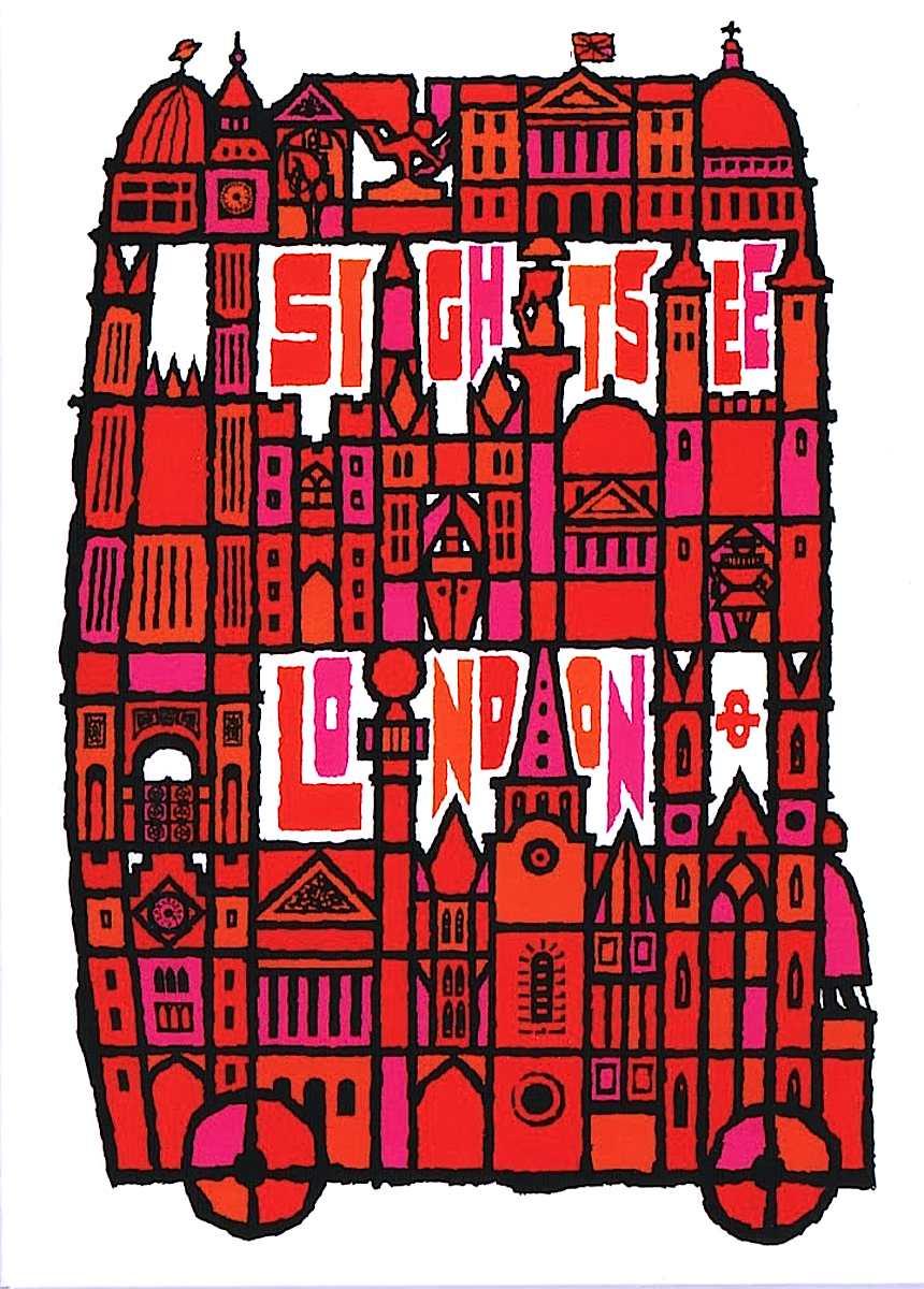 Abram Games 1968 poster art, Sight See London, double decker bus