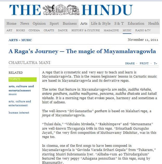 Charulatha Mani: A Raga's Journey — Magic of Mayamalavagowla