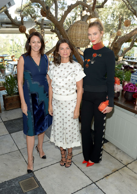 Caroline Rush CBE, Dame Natalie Massenet and Karlie Kloss at the announcement. Photo: Matt Winkelmeyer