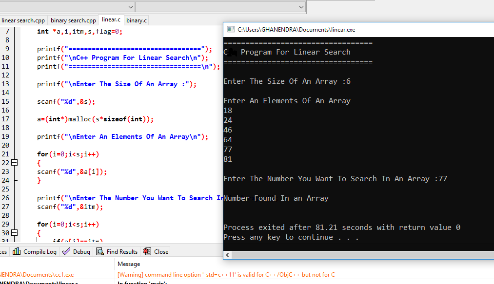 C Program For Linear Search
