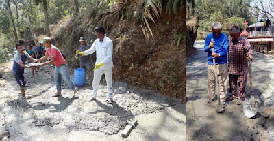 old aged villagers in Construction of road