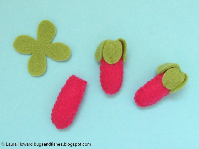 making felt foxglove buds