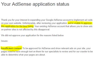 Kena Reject Dengan Google AdSense