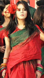 Tisma Bangladeshi Pop Singer In Red Saree