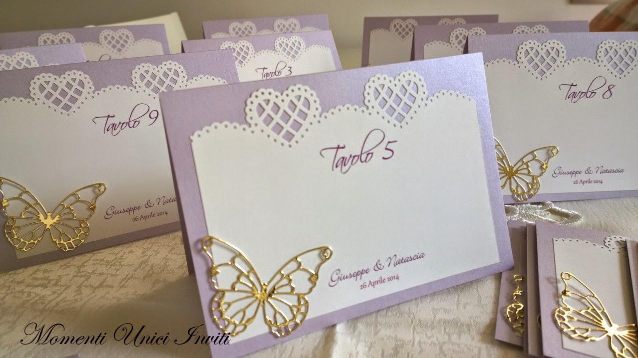 5 Cavalierini Segnatavolo e cards per plan de table da appoggioColore Lilla Colore Oro Segnatavolo Tema Farfalle