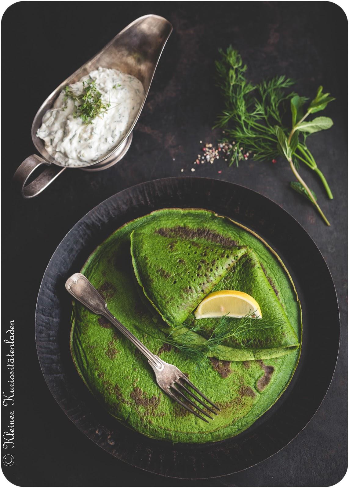 Spinatpfannkuchen mit Kräuterquark