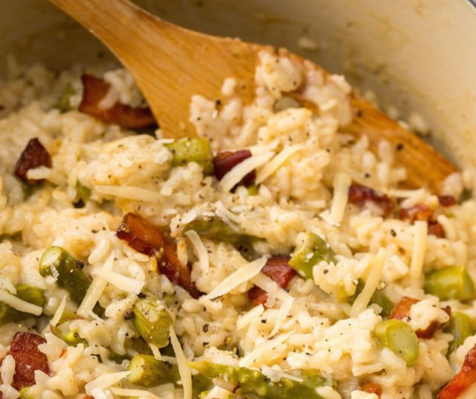 Creamy Asparagus and Bacon Risotto - food-drink-recipes.com