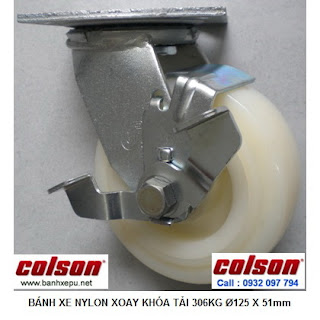 Bánh xe công nghiệp Nylon xoay khóa chịu tải 306kg | S4-5209-821-B3 www.banhxepu.net
