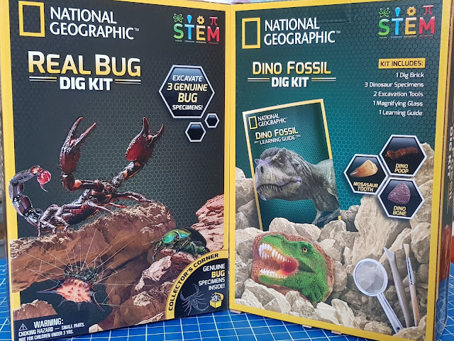 National Geographic STEM Dig Kits in boxes Dino Fossils and Bugs