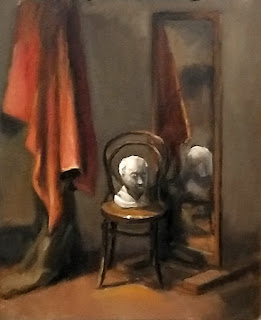 Oil painting of a plaster cast on a chair beside a mirror with nearby drapery.