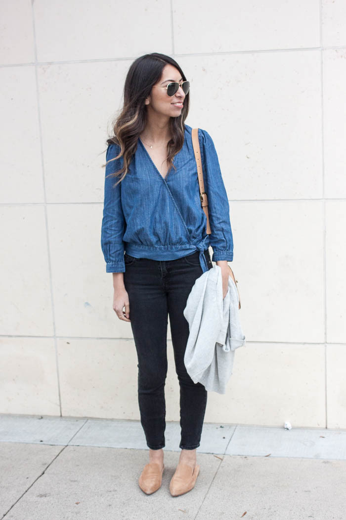 denim faux wrap top