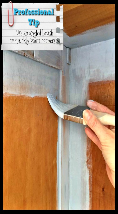 Use an angled paint brush to quickly paint the corners of the interior.