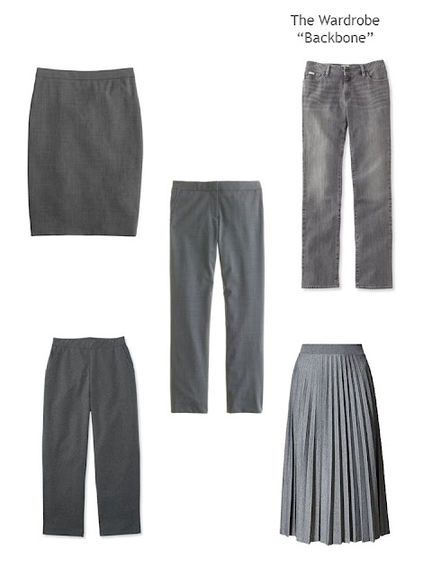 5 grey garments to form a Wardrobe Backbone